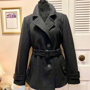 Giacca Gallery Wool Blend Pea Coat with Belt